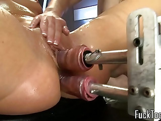 Lesbians licking pussy fuck double dildo machine