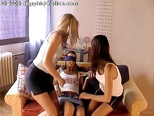 Lesbian Birthday Fun with three girls