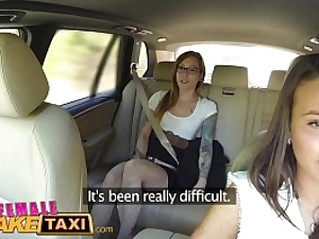 Female Fake Taxi Horny filthy lesbians lick shaved pussy in taxi