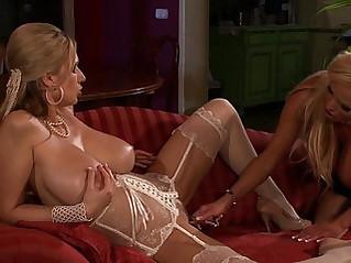 Big natural big tits lesbian milfs fucking her dildo at their pussy piercings