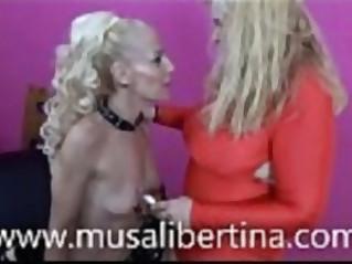 LezDom session by Musa Libertina vs Yelena Vera fisting, waxing and submission