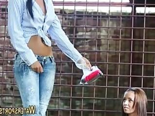 Lesbian pees on hot slut