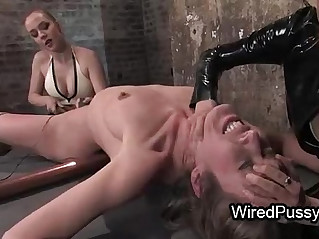 Wire tied brunette pussy vibed and fingered by her mistress