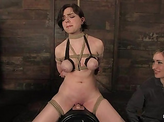 Nicotine Sarah Hunter is tied on a sybian forced to cum over and over