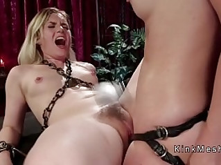 Blonde spanked and strap on anal fucked