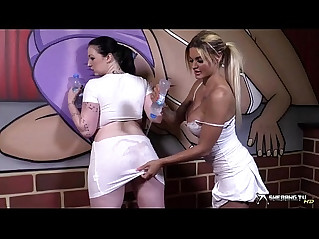 Two sexy lesbians going wild after wet t shirt play