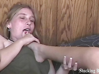Fourway lesbian roommate foot fetish orgy