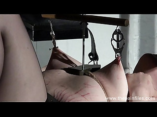 Extreme lesbian bdsm and hardcore lezdom tit tortures of chubby redhead slaveslu