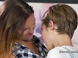 Beautiful brunette lesbians lick